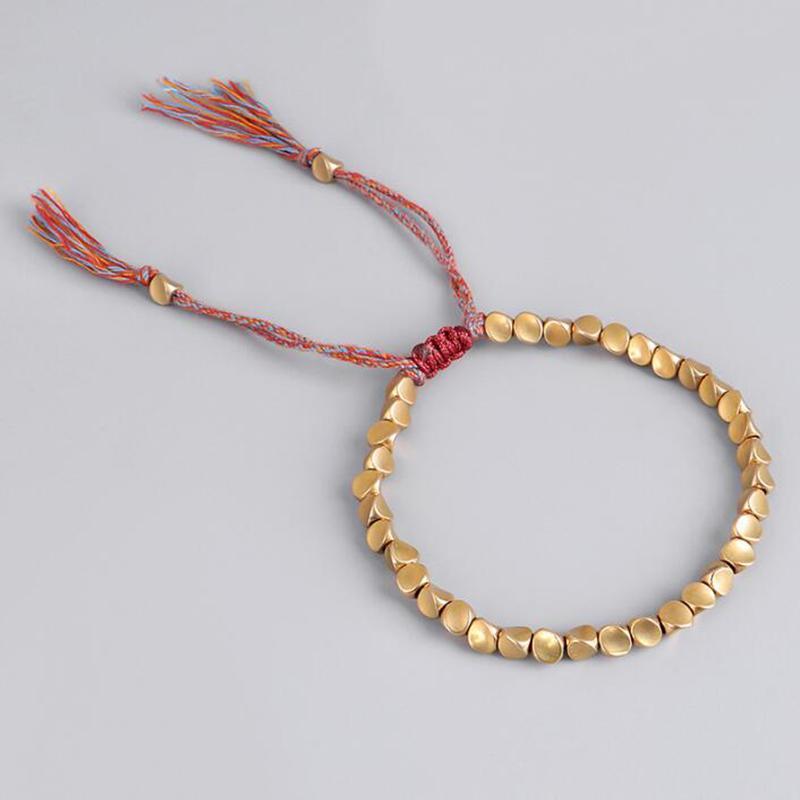 2020 Mode Femmes Hommes Bracelets bijoux tricotés à la main ethnique cuivre en forme de perle originale Tirer Cadeaux Tassel Bracelets