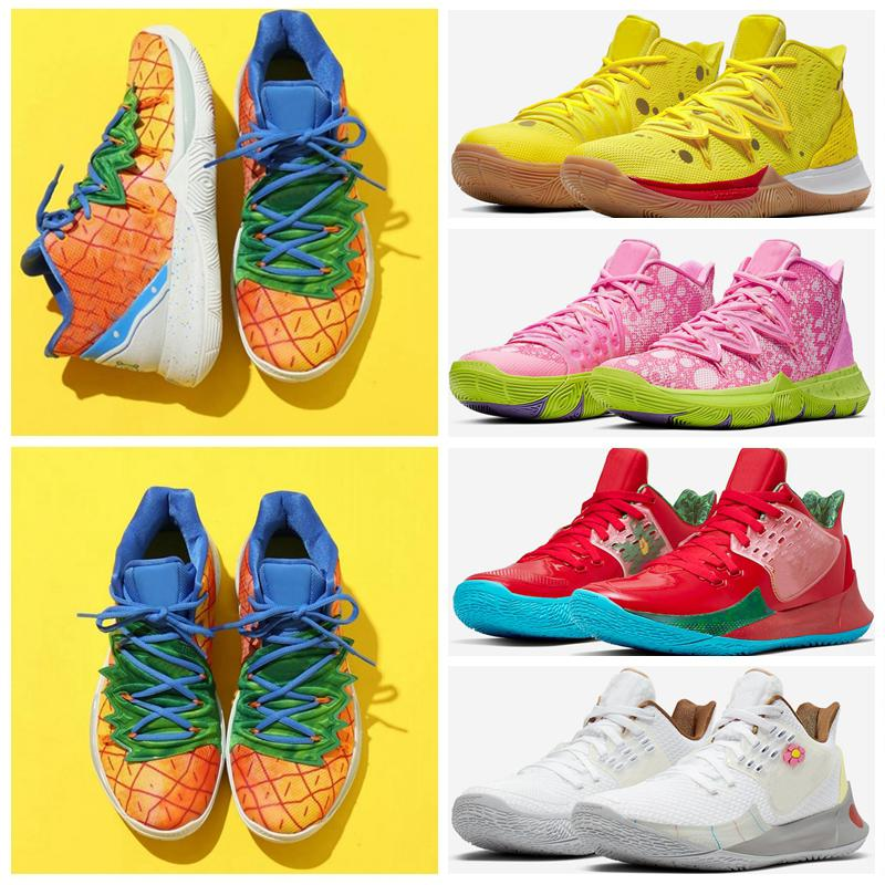 2021 Sponge Ananple House 5 Zapatos Kyrie TV PE Basketball Chaussures pour 20e anniversaire Irving 5S Graffiti X Sneakers Sports multicolores