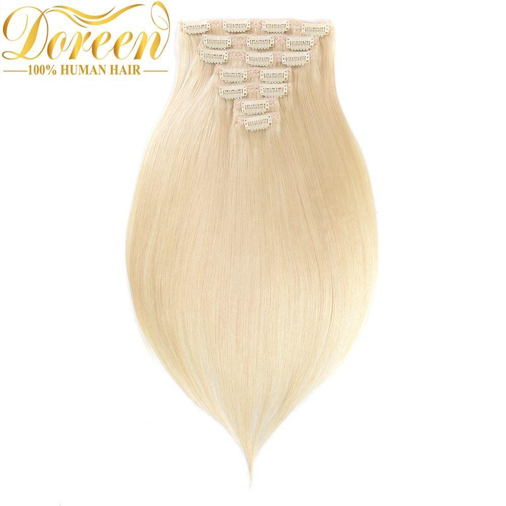 120G #60 Blonde Clip In Human Haire Extensions Full Head Set 10 PCs Brazilian Machine Made Remy Straight hair 14-26 Inch
