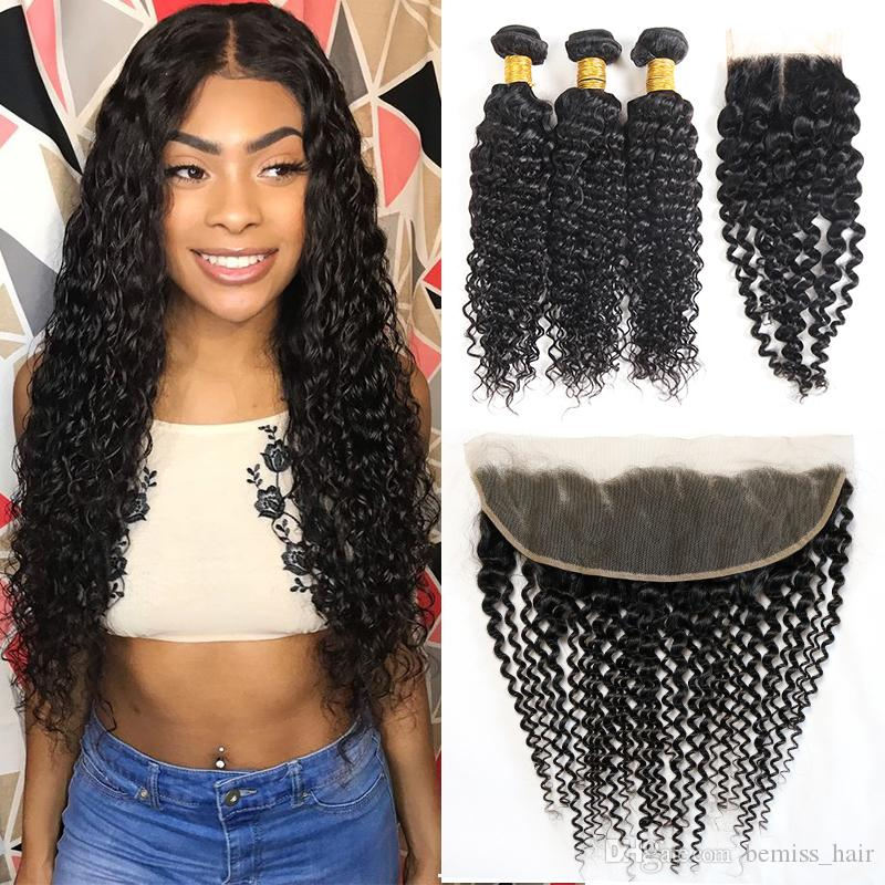 Brazilian Virgin Hair Weaves Unprocessed Deep Wave Human Hair Bundles with Closures Peruvian Indian Malaysian Hair Extensions and Frontal
