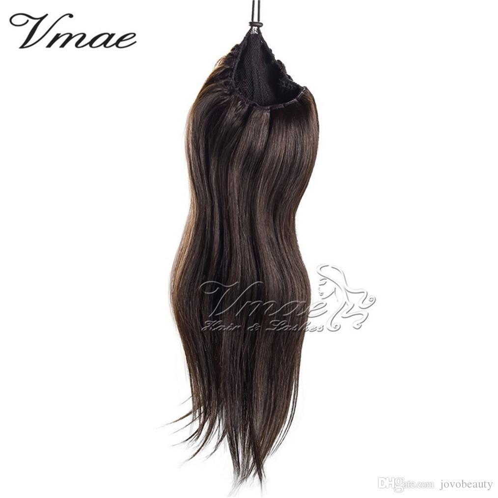 Natural Hetero 613 Brown 14 a 26 inch120g polegadas Humano Virgin Hair Extension cavalinha clipe buraco apertado Em cordão de-cavalo VMAE