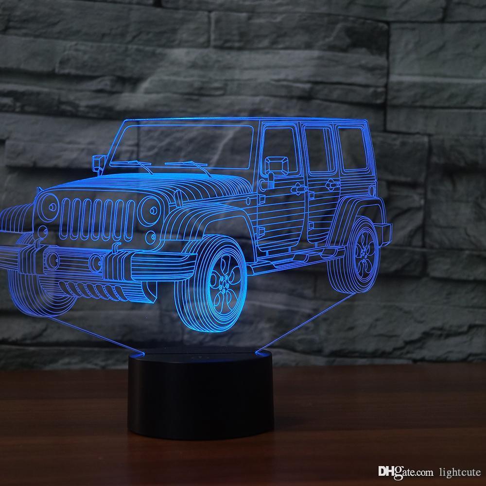 Jeep Toy Car Illusion Noite Light Touch 7 Alterar cor presente do Xmas do Natal do presente Lamp LED Home Decor Baby Girl Boy Crianças