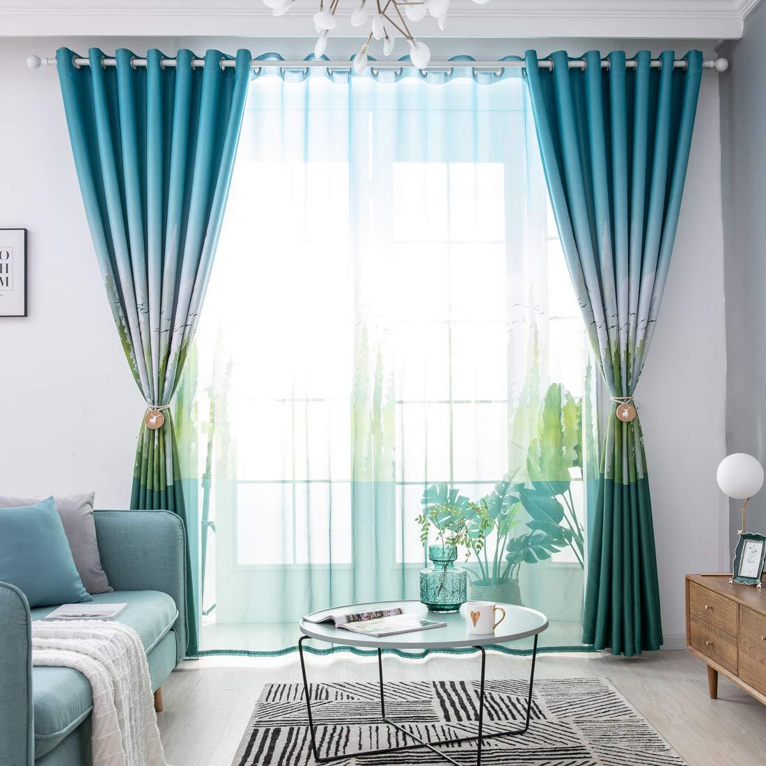 2021 Jarl Home Grey Green Blackout Curtains For Bedroom 2 Panels Grommet Thermal Insulated Cedar Ink Printed Black Out Curtain For Living Room From Jarlhome 20 98 Dhgate Com