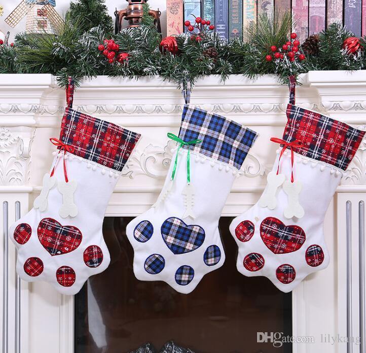 Рождественские украшения Собака лапа печати носки рождественская елка висит чулок кулон дети подарки конфеты сумки для хранения Главная фестиваль партии кулон носки