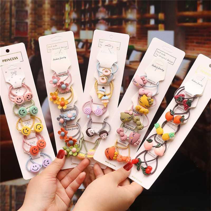 Corée Set Accessoires cheveux tête de fille corde élastique de Bandeaux Élastique 2020 Trendy Cartoon Fruit tête Bijoux mignon corde