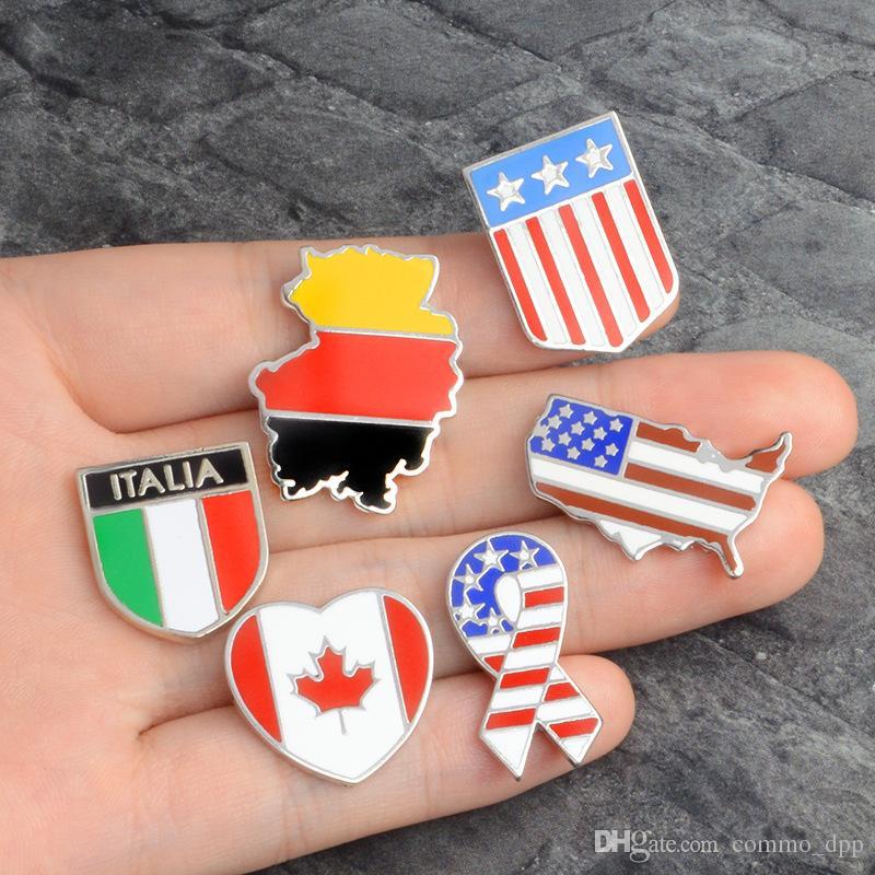 Ulusal bayraklar Emaye Kanadalı Amerikan Alman İtalyan Bayrağı Yaka Pin Broşlar Giyim Yaka Broş rozeti Moda Takı Hediye