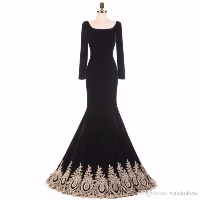 2018 élégant velours noir robe de soirée satin de sirène scoop dentelle dentelle manches longues promenades promenades promenades personnalisées femmes romans