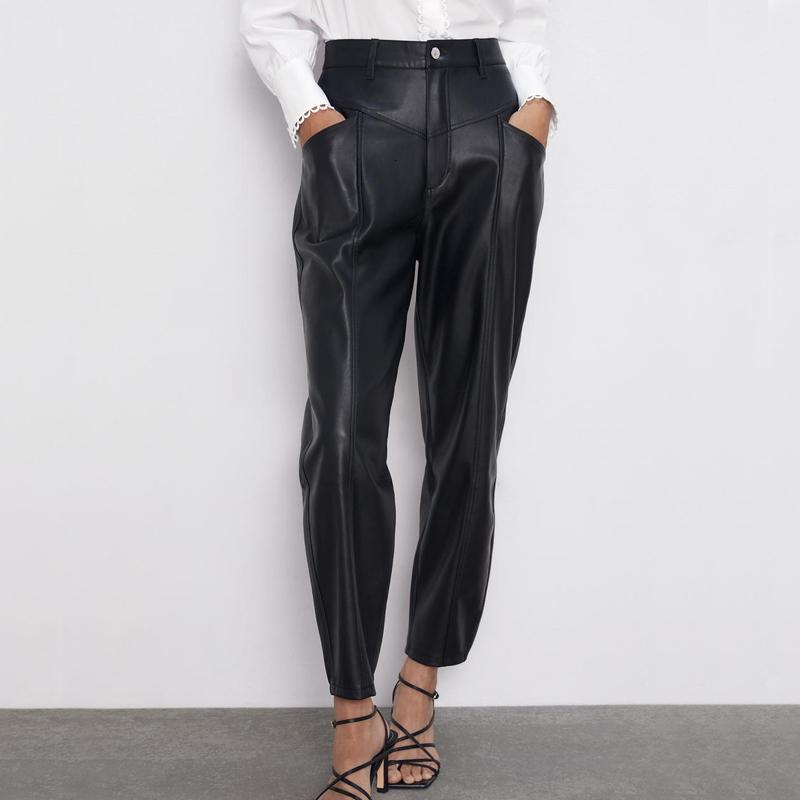 RR PU Deri Gevşek Pantolon Kadınlar Moda Sahte Deri Pantolon Kadınlar Şık Cepler Fermuar Düğme Pant Kadın Bayanlar JI LY191203