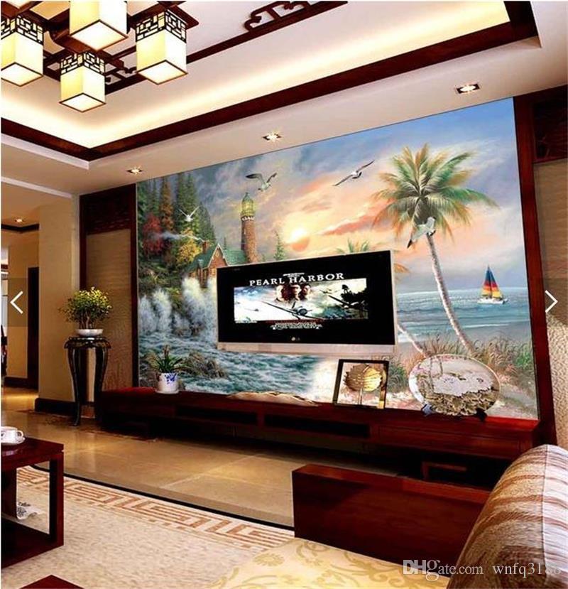 Özel boyut fotoğraf kağıdı 3d duvar resmi oturma odası hindistan cevizi plaj manzara 3d resim kanepe TV zemin duvar kağıdı duvar dokunmamış sticker