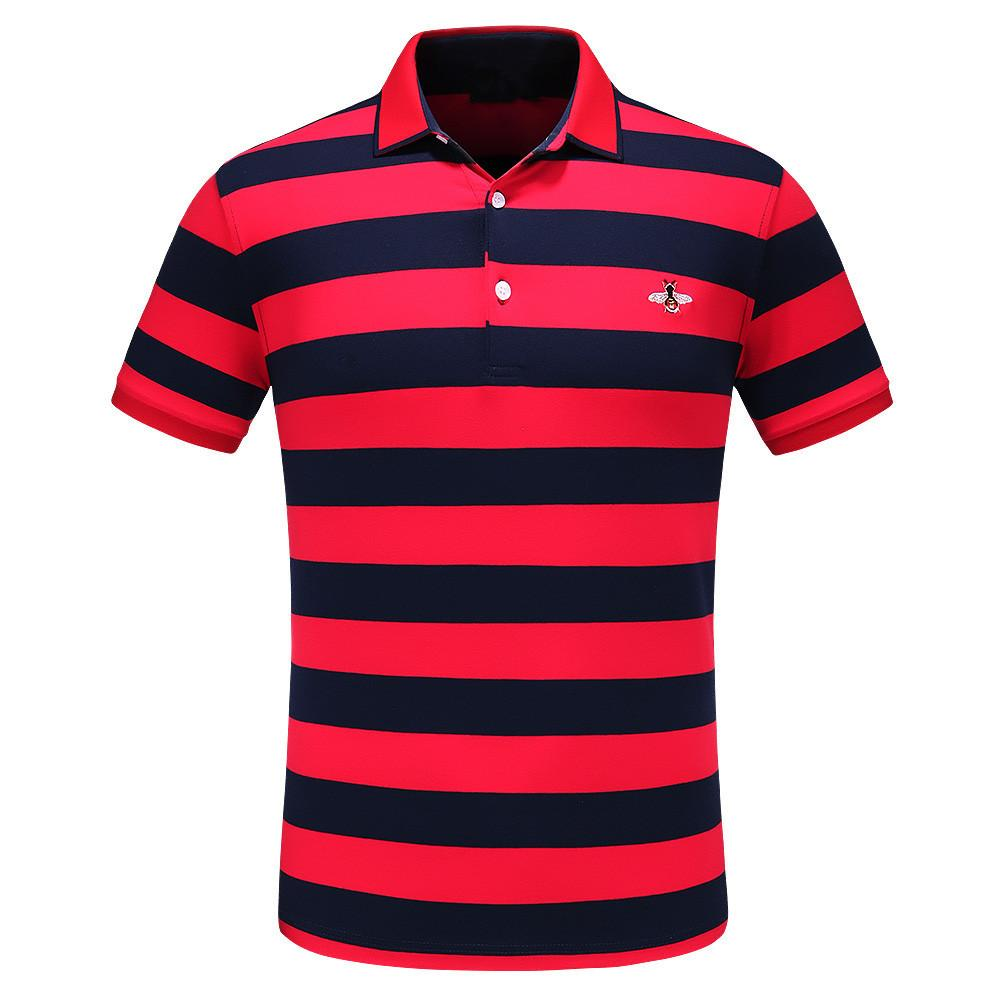 Мужские рубашки поло Европейский и американский популярный чистый хлопок полосатый Пчелиный узор вышивка высокое качество рубашки поло