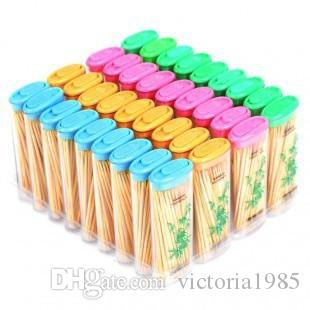 Wholesale 80pcs Disposable Wood Dental Toothpick Natural Bamboo Fruit Pick Box Holder For Home Restaurant Hotel Toothpicks Tools