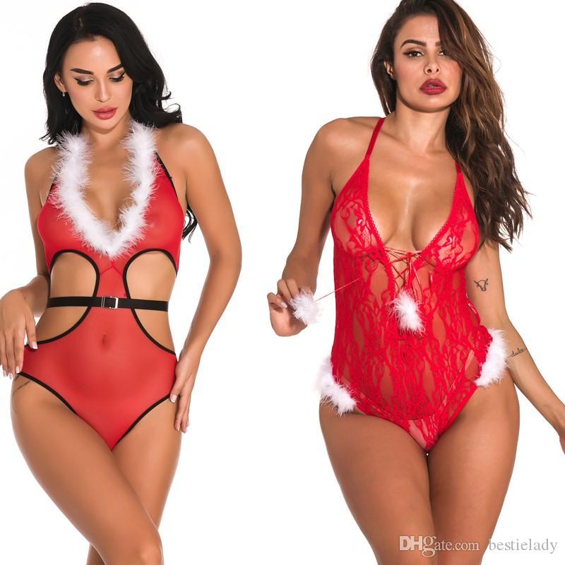 المرأة مثير V-plung الأبيض ضبابي العنق تريم والجانبية وقف خارج خفض عالية عطلة عيد الميلاد مش الأحمر تيدي مع الحزام الأسود ملابس نوم