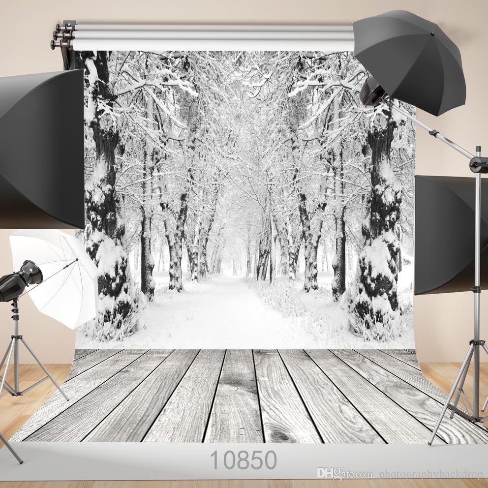 Vinyl Benutzerdefinierte Fotografie Kulissen Prop digital gedruckt Vertikale Schnee Winter Wald Fotostudio Hintergrund JLT-10850
