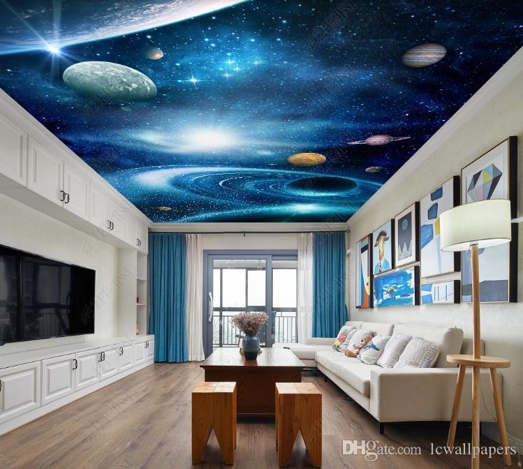 Personalizado 3D techo Mural foto papel pintado fantasía universo cielo estrellado sala de estar dormitorio techo cenit mural papeles de pared