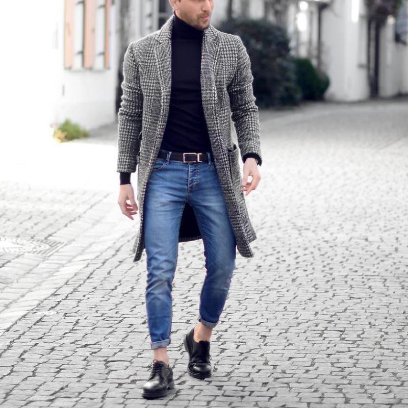 Hirigin Erkekler Trençkot Erkekler Kış Klasik İnce Uzun Ceket Erkekler Sonbahar Erkek Hendek Katı Uzun WINDBREAKER Vintage Karışımları Coats