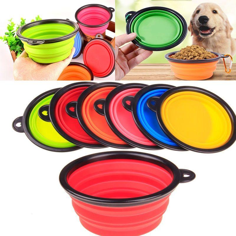 Новые Силиконовые складные миски для собак Расширяемая чашка Блюдо для кормушек для животных Корм для воды Корм для переносных мисок Портативная миска с карабином FA2824