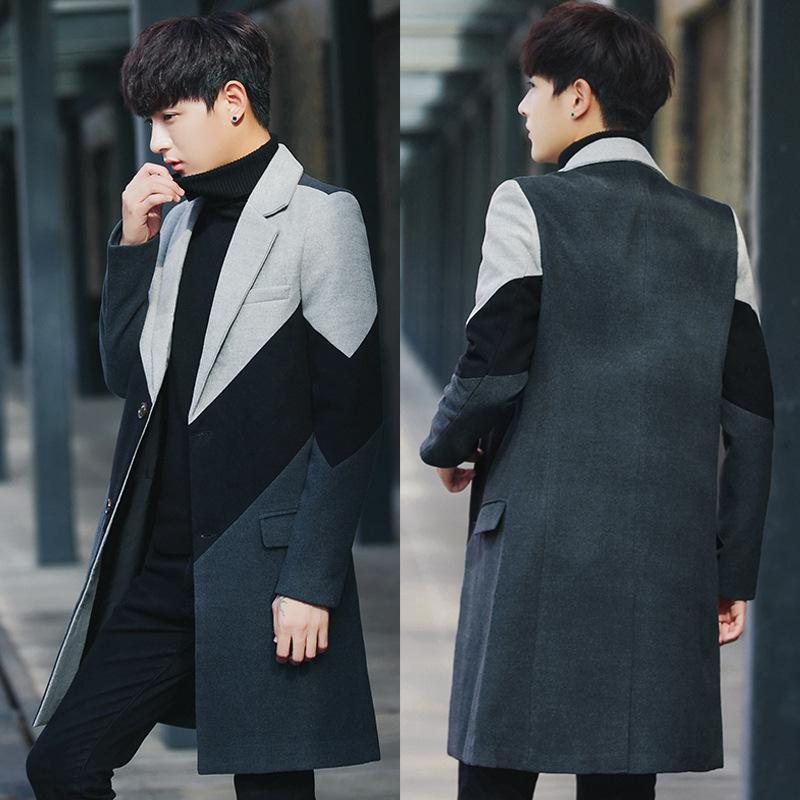 Vêtements de loisirs hommes hiver nouveau manteau de laine manteau mâle longue laine