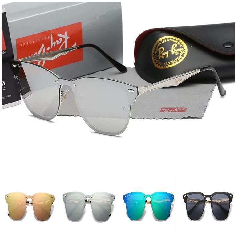RAY BAN progettista occhiali da sole di qualità superiore a cerniera occhiali da sole in metallo Occhiali da Donne Occhiali da sole UV dell'obiettivo unisex con i casi e scatola