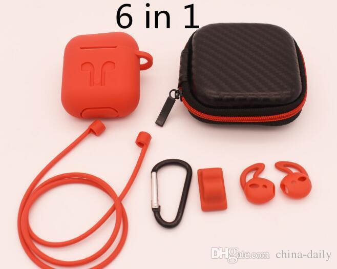 Gratuit Bateau 6 en 1 Kits de couverture de protection en silicone pour Apple AirPod avec bande Watch Holder / crochet d'oreille / bracelet / porte-clés