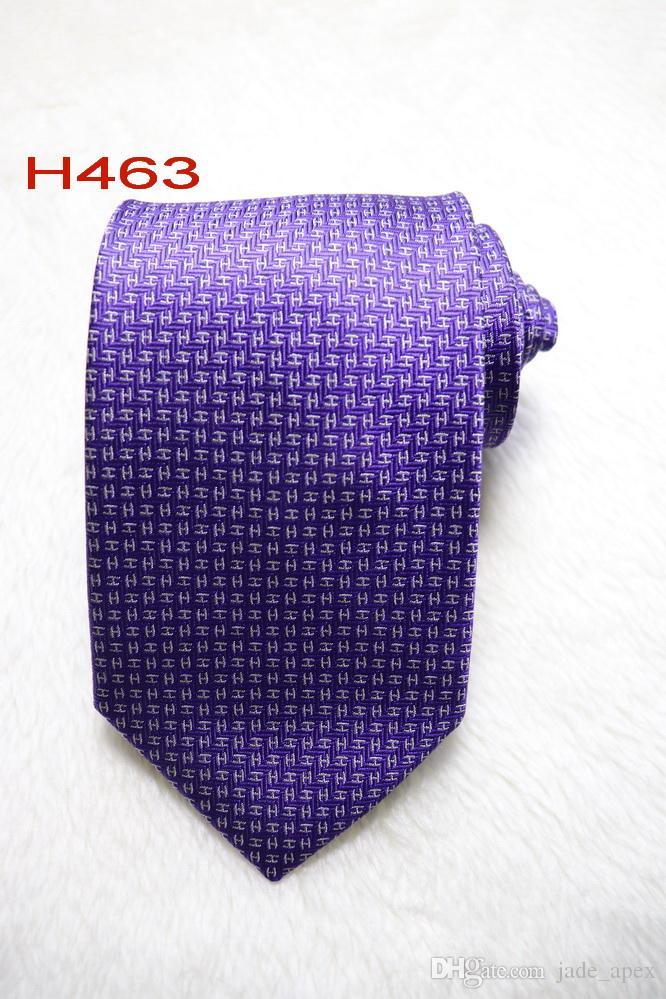 Clásico 100% JACQUARD TEJIDO HECHO A MANO Moda para hombre desige Color púrpura / Blanco Hombres Corbata de seda H463