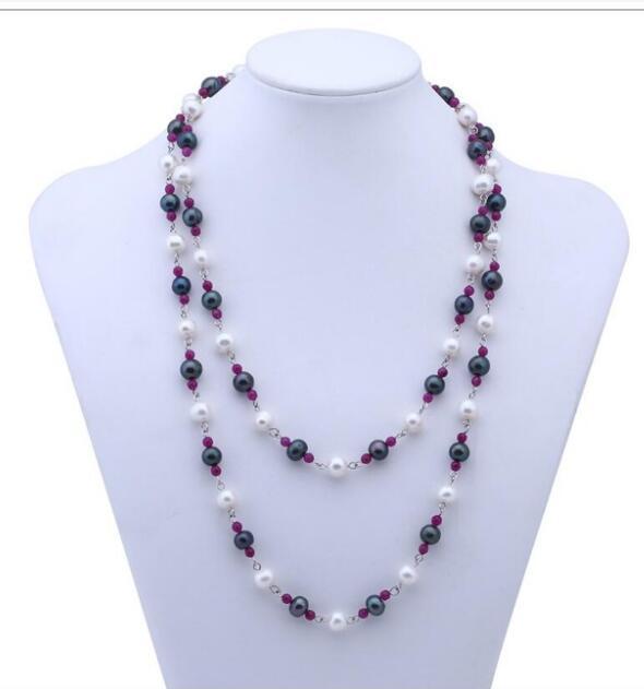 SPEDIZIONE GRATUITA + Collana di perle d'acqua dolce moda, lunga catena maglione