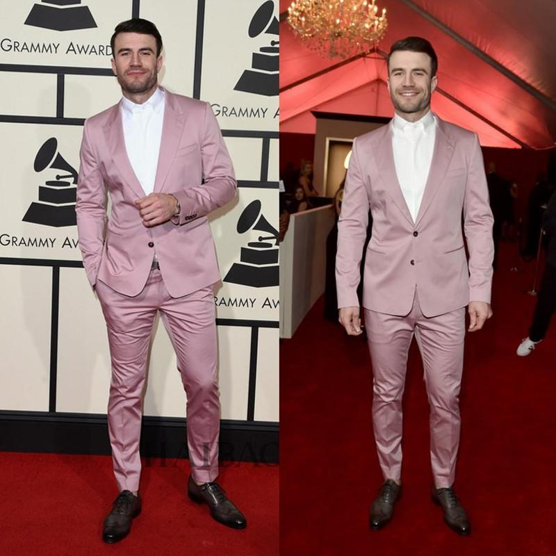 Grammys Cool Mens Suits Two ButtonsTuxedo High Quality Pinstripe Wedding Tuxedos With Back Casual Blazer(Jacket+Pants)