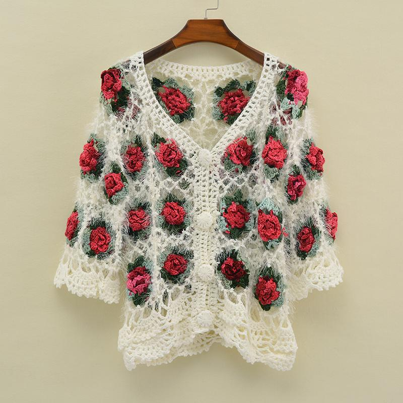 Fashion-Autumn winter hand knitted women sweater long sleeve handmade crocheted flower hollow out cardigan female sweater