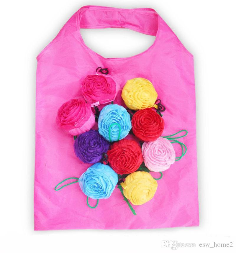 Rose Blume Form Faltbare Aufbewahrungstasche Handtasche Eco Wiederverwendbare Umwelteinkaufstaschen Folding Lebensmittelgeschäft Große Tasche