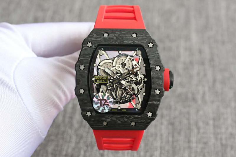 TA R35-02 kaliteli karbon fiber tourbillon tasarımcı otomatik seyretmek montre de luxe reloj de lujo izlemek saatler Yani