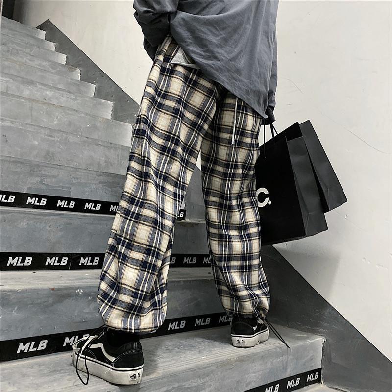 Automne et hiver Ins rétro classique Loose-Fit Plus épais velours Pantalons simple coupe droite Plaid Pantalons faisceau jambe large pantalon jambe pour hommes et femmes