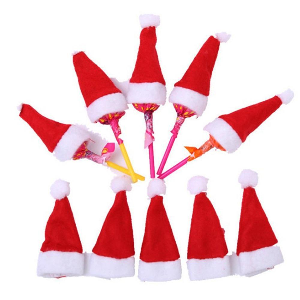 30 개 20 개 뜨거운 판매 미니 산타 클로스 모자 크리스마스 크리스마스 휴일 롤리팝 최고 토퍼 커버 축제 크리스마스 파티 장식