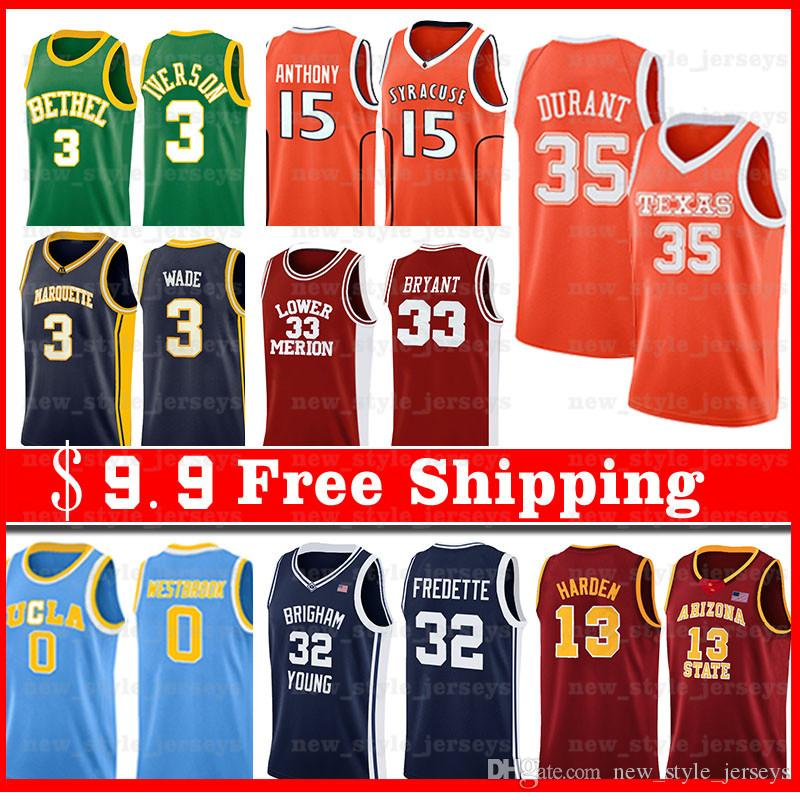 2020 NCAA Men Joel 21 Embiid Jersey Ben 25 Simmons Allen Iverson 3 College Basketball Jersey
