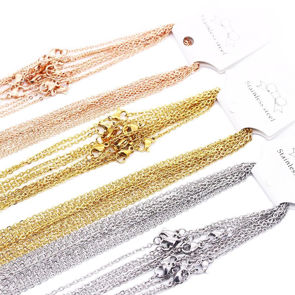 Catene di collegamento in acciaio inox da 1mm 2mm in acciaio inox argento oro rosa oro colore 45-60 cm donne uomini fai da te collane gioielli in forma monili pendant bulk vendita 10 pz / borsa