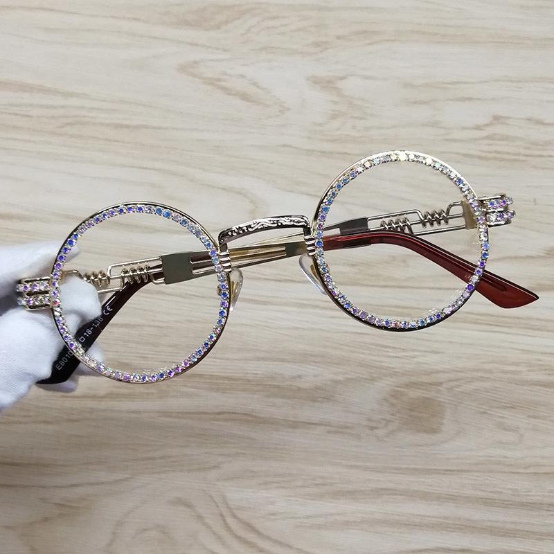 Rodada Sunglasses Steampunk Metal Frame Rhinestone claro Círculo Retro Frame Lens Sunglasses T200106