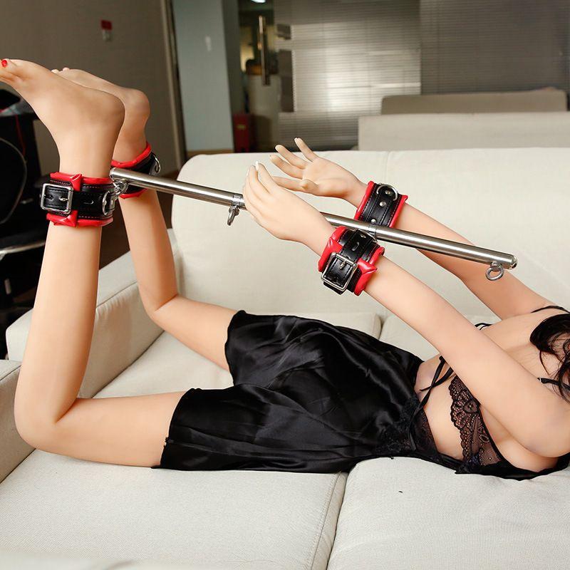 반디 게임 세트 스테인레스 스틸 조절 스프레더 바 섹스 발목 팔목 페티쉬 감금 완구 제품 T200511