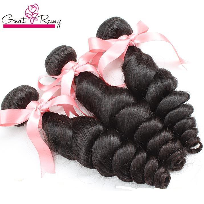 """Hot Selling 2pcs Greatremy Brazilian Human Hair Extension 8 """"-30"""" Loose Wave Human Virgin Hair Buntar Weft Naturlig färgväv färgbar"""