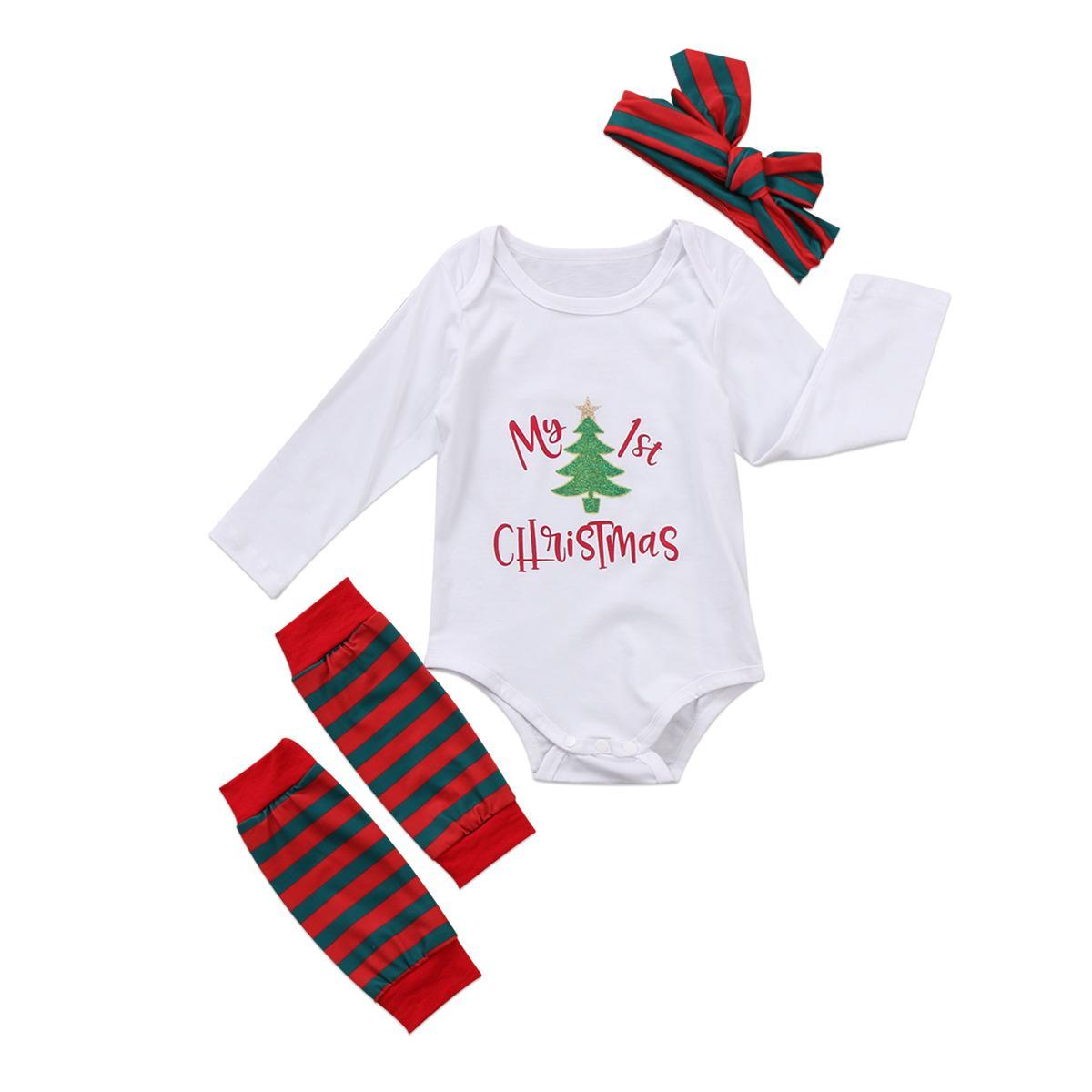 2020 Nouveau-né bébé Garçon Fille Vêtements de Noël Ensembles d'arbre Imprimer + Bodysuit chaussette + Bandeau Tenues 3pcs Vêtements 0-24M