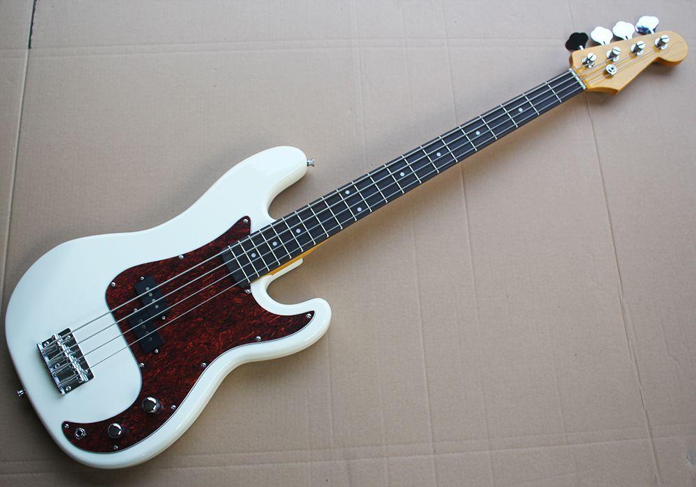 Fabrika doğrudan satış 4 dizeleri beyaz elektrik bas gitar 2 pikap, kırmızı pearled pickguard, gülağacı klavye,
