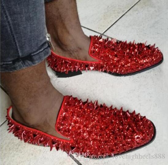 Фабрика Индивидуальные Красный Зеленый Синий Мужская Повседневная Обувь Блеск Шипастая Обувь Ручной Работы Роскошные Свадебные Платья Туфли