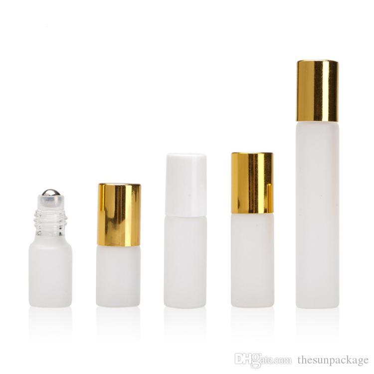 10ml의 5ml의 금속 볼 롤러 에센셜 오일 유리 병에 3ml를 향수 롤에 유리 병 젖빛 지우기
