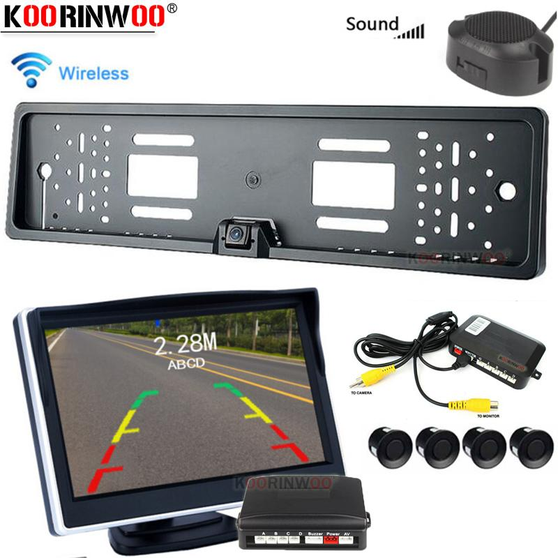 Koorinwoo 2.4G Adopter EUROPEU eletromagnética Car Rear Monitor Sensor Parktronic Reversa câmera Buzzer BIBI tela av Backlight