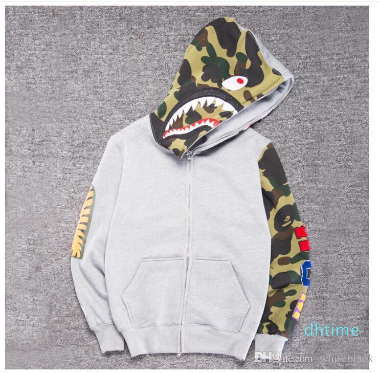 2018 Men &#039 ;S Clothes Hoodies Jacket Gray Camouflage Shark Print Men Fashion Cotton Hooded Sportswear Inner Fleece Hoody Sweatshirt