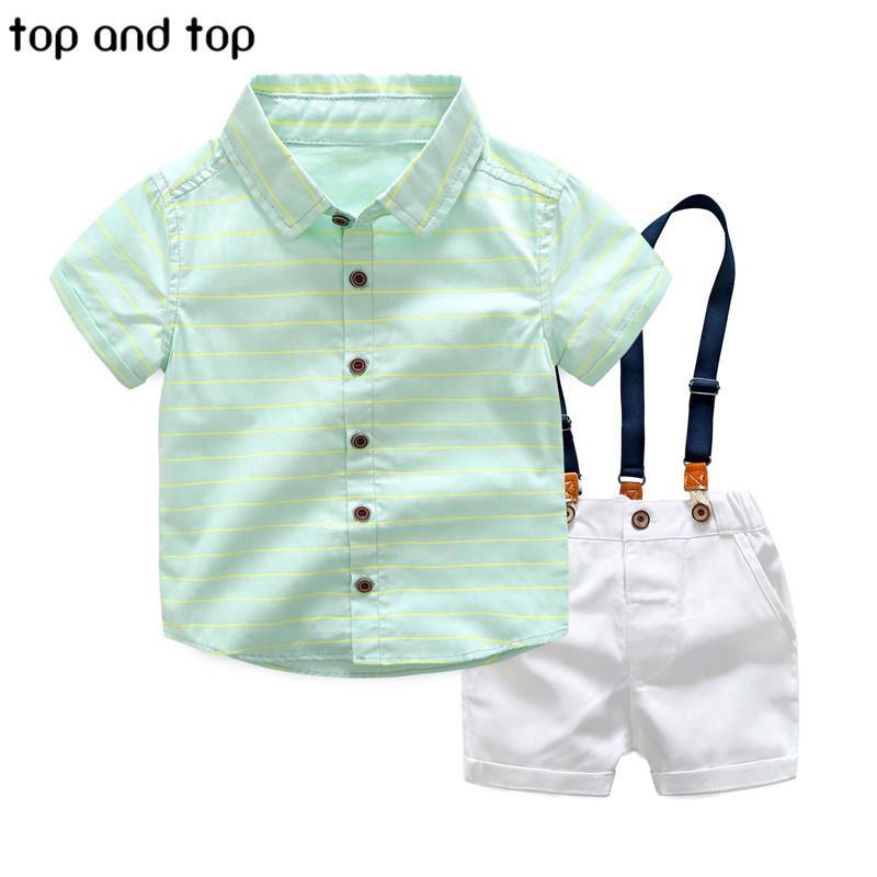 Üst Ve Üst Erkek Giyim Setleri 2017 Yaz Erkek Gentleman Çizgili Gömlek + parantez Şort 2 adet Giyim Seti Çocuk Parti Giyim J190513