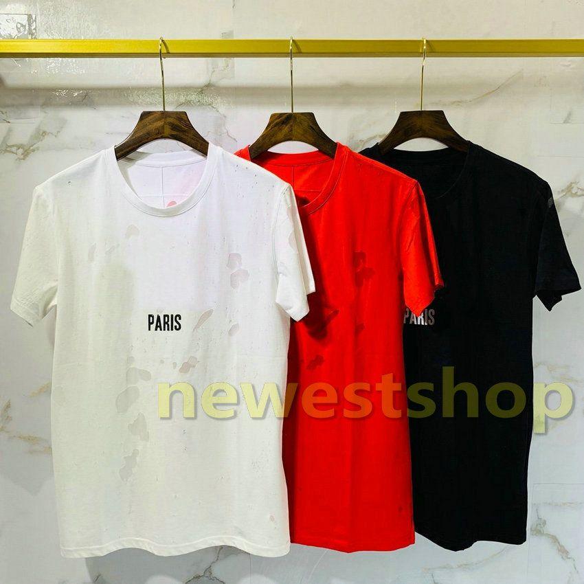 2020 فاخر أوروبا باريس أسود أبيض كبير المكسور ثقوب طبقة النسيج اثنان تي شيرت أزياء الرجال والنساء ستار طباعة T القطن القميص عادية المحملة الأعلى