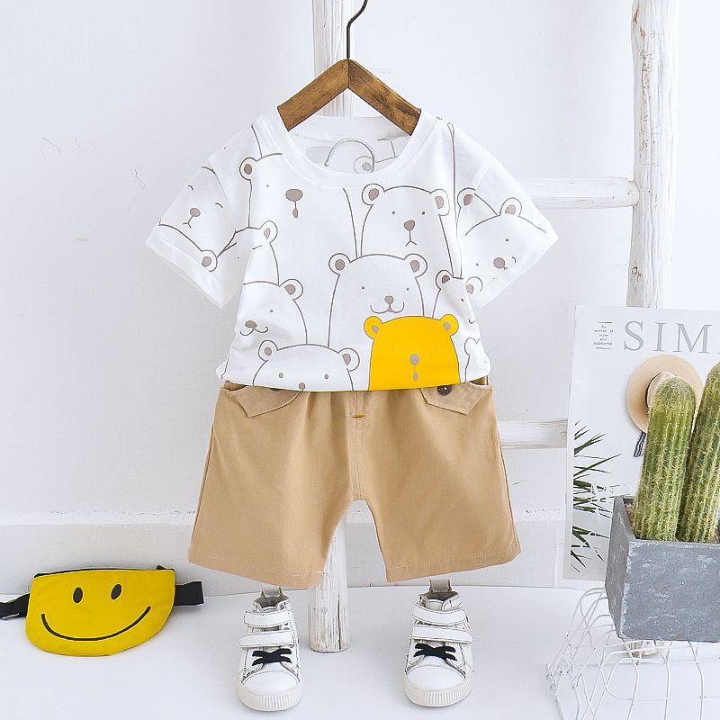 2020 New Fashion Baby Suit Boys Girls Clothes Cotton Infant Printing Bear Kids Outfits Shirts Pants 2pcs/Set Children Clothing