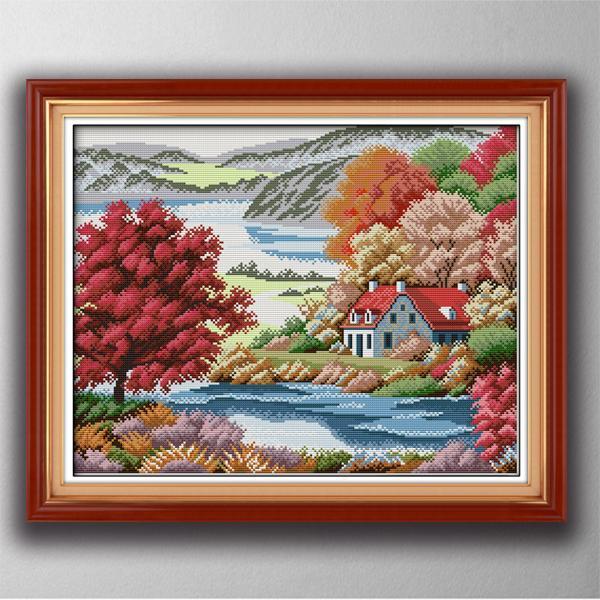 bordo vermelho pinturas decoração pátria casa, conjuntos de Handmade Cross Stitch bordado Needlework contados impressão sobre tela DMC 14 ct / 11CT