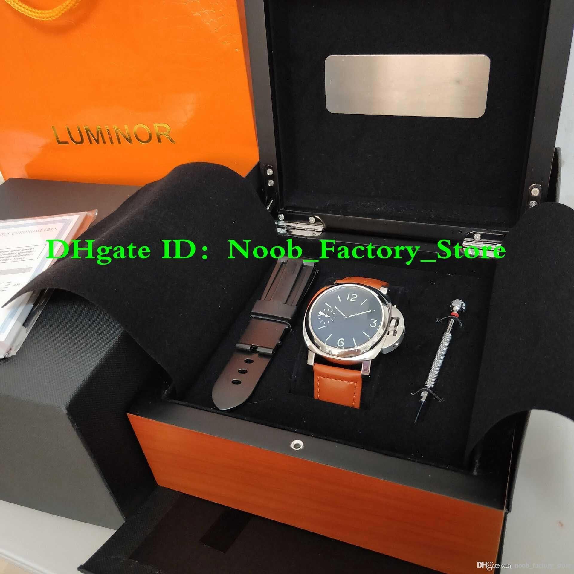 أفضل WATCH مصنع 44mm والوجه الأسود الشريط براون سوبر 111 الميكانيكية يدوية المتعرجة حركة أزياء للرجال ساعات مع صندوق أصلي