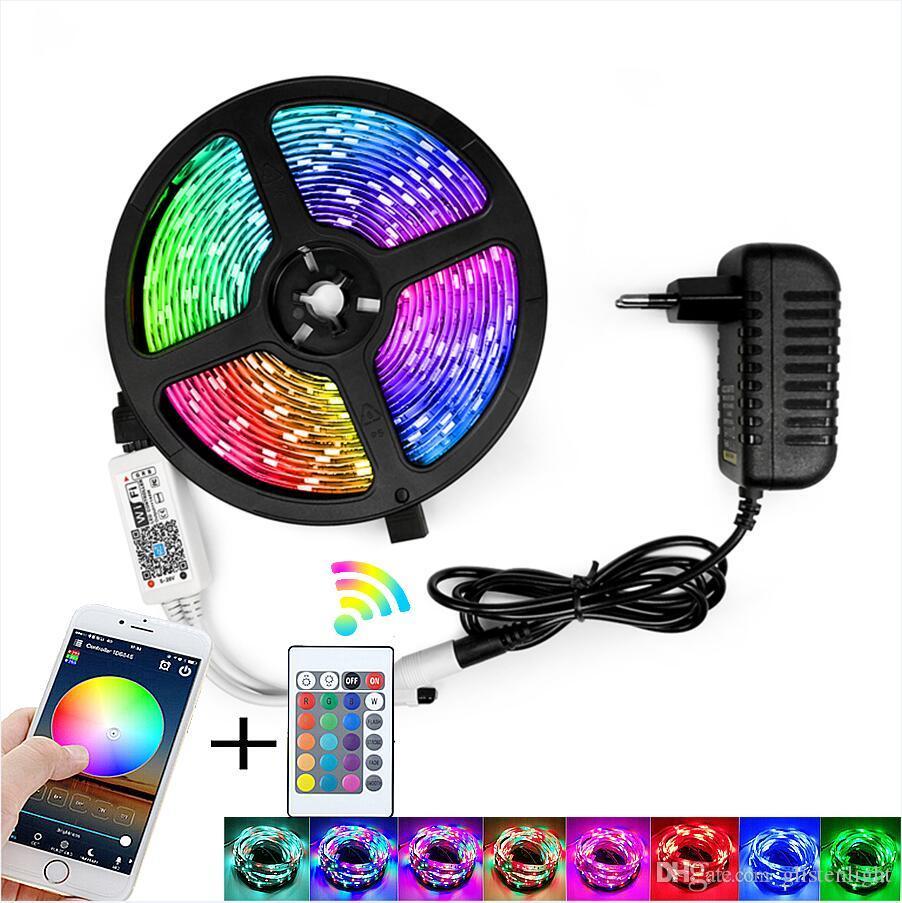RGB LED قطاع ضوء SMD 2835 5 متر ماء rgb الشريط dc12v الشريط ديود الصمام شرائط ضوء مرنة شريطية مصباح IR wifi تحكم