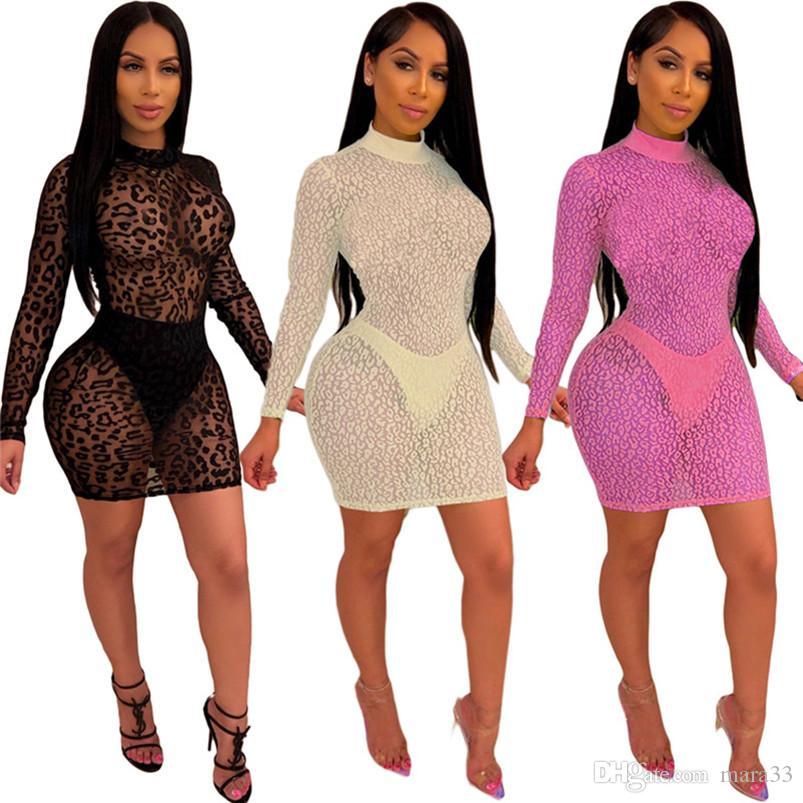 Mujeres diseñador verano mini vestidos columna columna sexy club malla ropa de playa vestidos largas faldas fiesta fiesta de fiesta leopardo vender caliente rkog