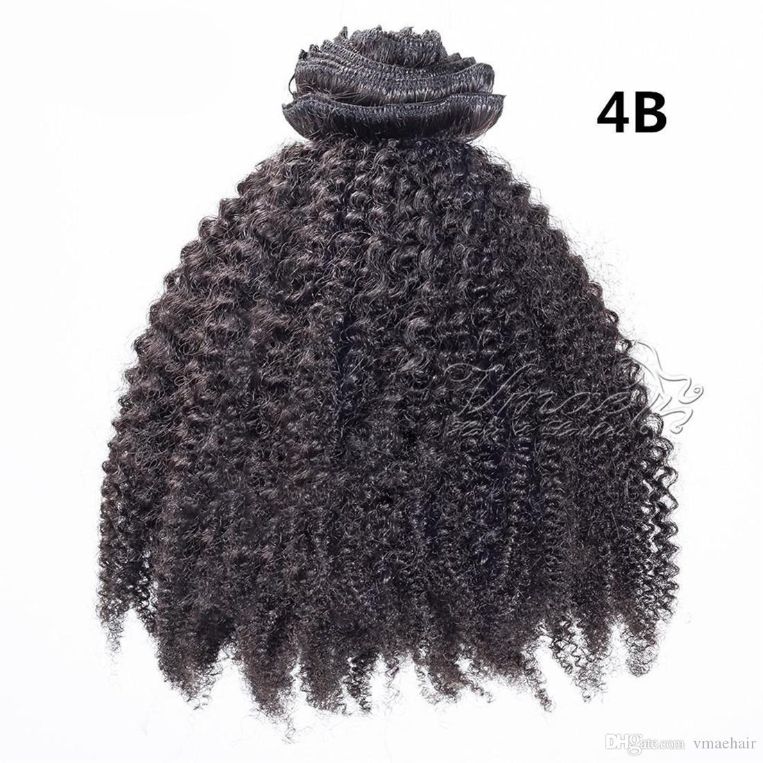 브라질 아프리카 변태 곱슬 리얼 버진 인간의 머리카락 헤어 100g 120g 160g에서 기능 확장 (b) (c) 천연 컬러 클립 클립